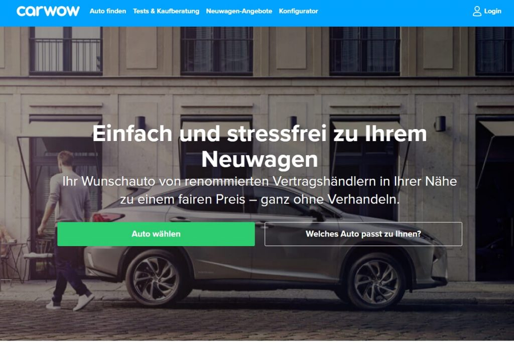 Screenshot Carwow Homepage